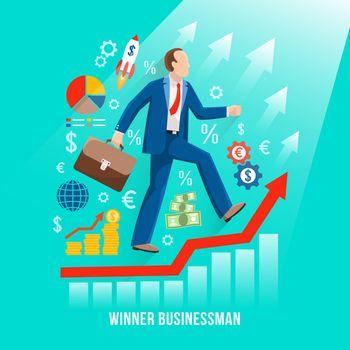 Successful Businessman Symbolic Flat Poster