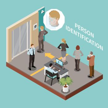 Persons Identification Isometric Composition