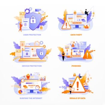 Data Privacy Icons Compositions