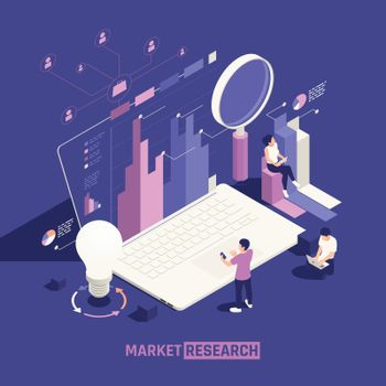 Market Research Isometric Poster
