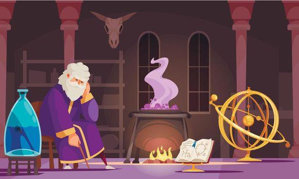 Alchemist Cartoon Illustration
