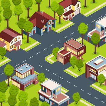 Suburban Houses Isometric Landscape