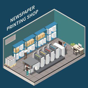 Newspaper Printing Shop Illustration