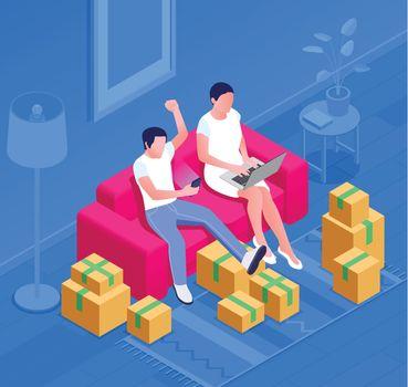 Shopping On Sofa Composition