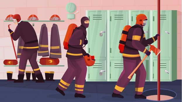 Firefighters At Station Composition