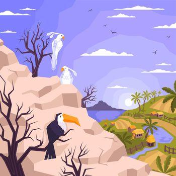 Tropical Village Birds Composition