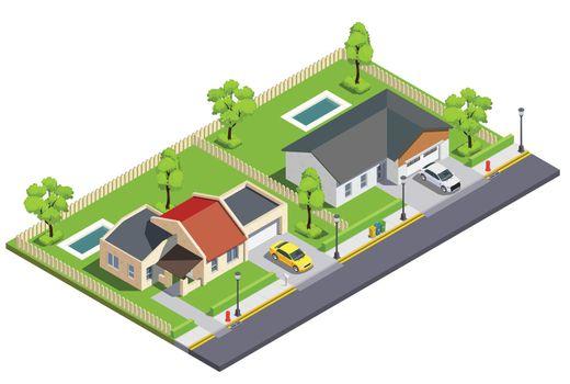 Town Block Buildings Composition