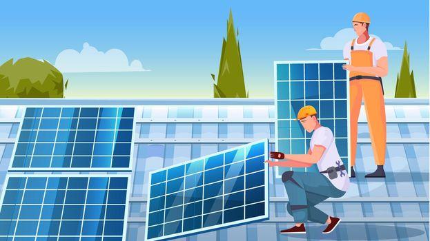 Solar Panels Installation Flat Composition