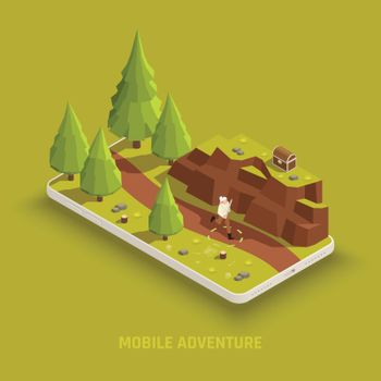 Mobile Gaming Isometric Composition