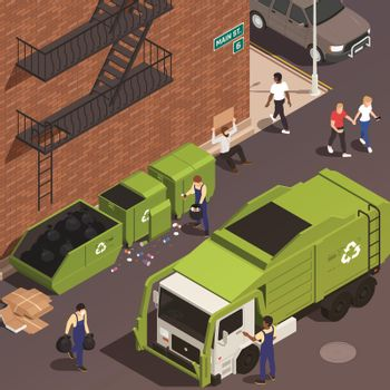 Garbage Removal Isometric Background