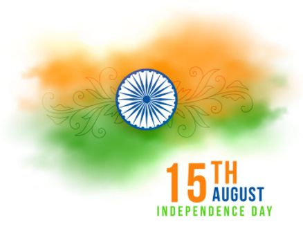 15th august indian independence day watercolor flag banner
