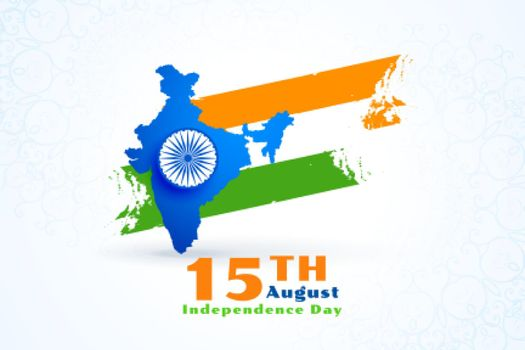 map of india with flag for independence day