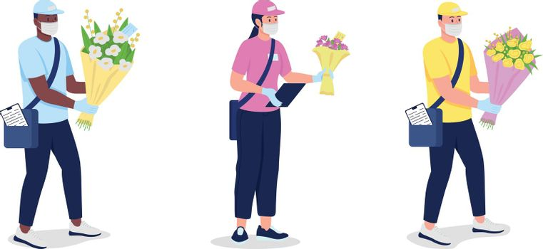 Couriers in mask and gloves with flowers flat color vector detailed character set