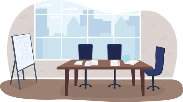 Office meeting room 2D vector web banner, poster