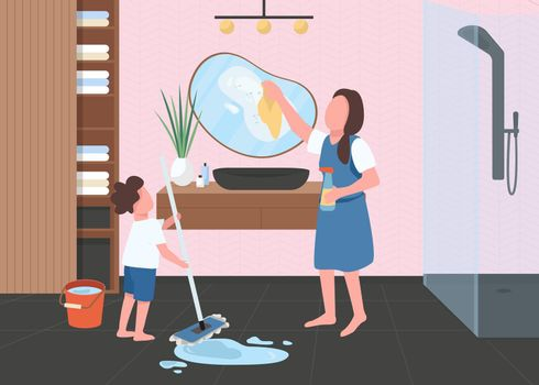 Spring cleaning in bathroom flat color vector illustration