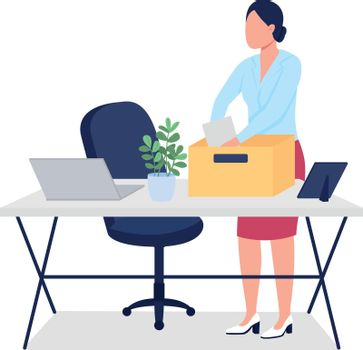Fired woman collecting stuff flat color vector faceless character