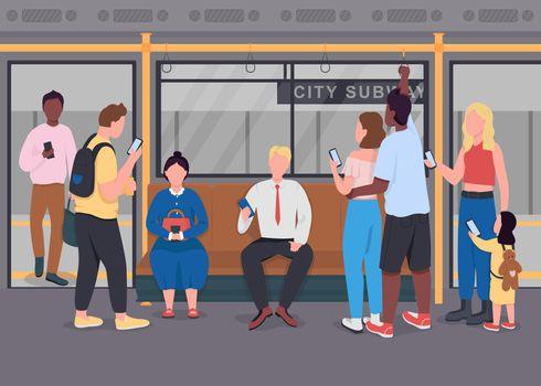 People in public transport flat color vector illustration