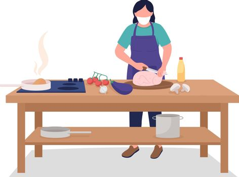 Female chef in face mask flat color vector faceless character