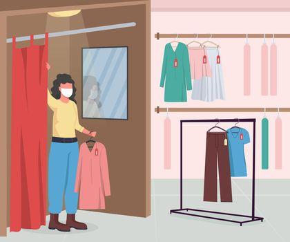 Clothing shop during epidemic flat color vector illustration