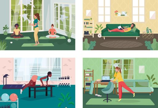 Employee healthy lifestyle flat color vector illustration set