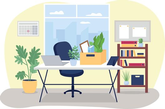 Workplace desk with box of stationery 2D vector web banner, poster
