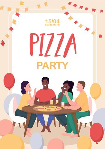 Friends at pizza party poster flat vector template