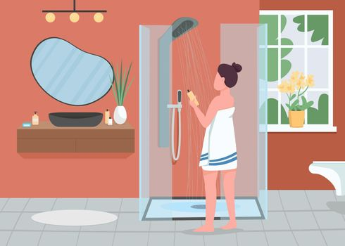 Daily hygiene routine flat color vector illustration