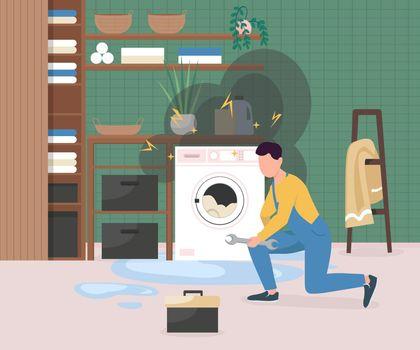 Fixing broken washing machine flat color vector illustration