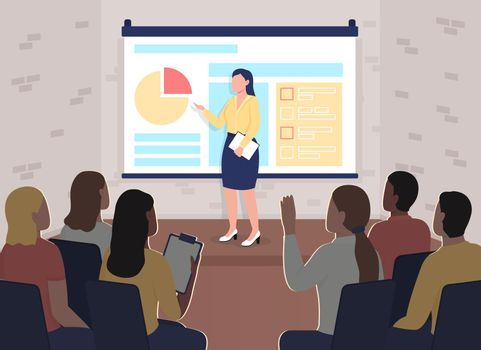 Marketing training conference flat color vector illustration
