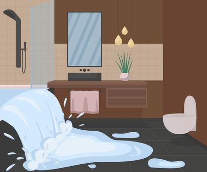 Bathroom flooding with water flat color vector illustration