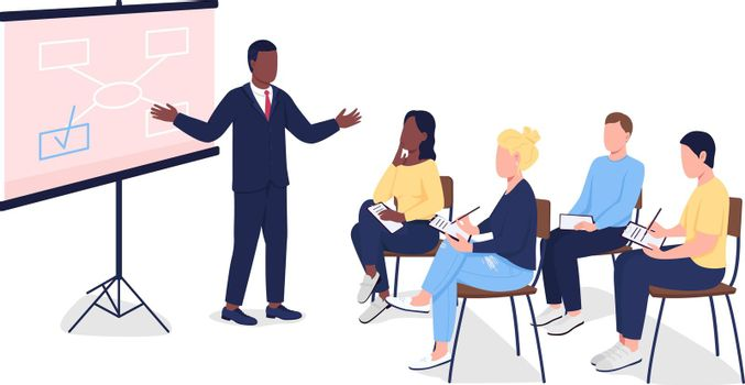 People at business seminar flat color vector faceless characters