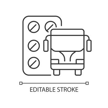Pills for motion sickness linear icon