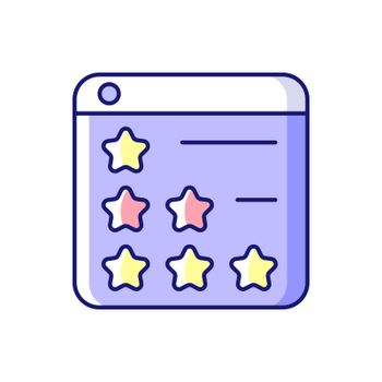 Consumer review networks RGB color icon