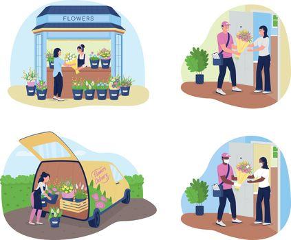 Flower delivery service 2D vector web banner, poster set