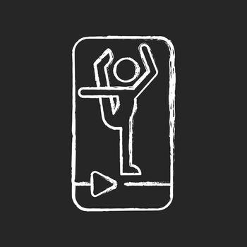 Online fitness stretching chalk white icon on dark background.