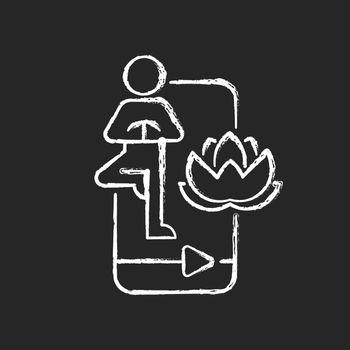 Online yoga tutorial chalk white icon on dark background.