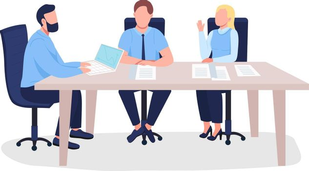 Business people flat color vector faceless characters