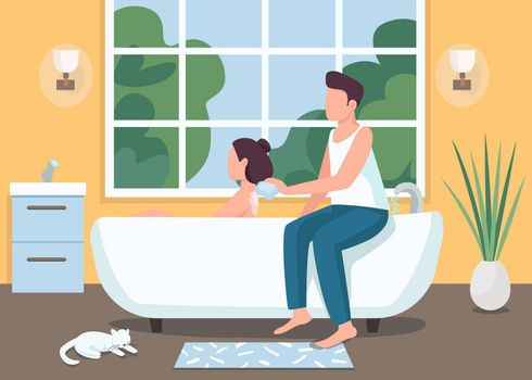 Couple taking bath together flat color vector illustration