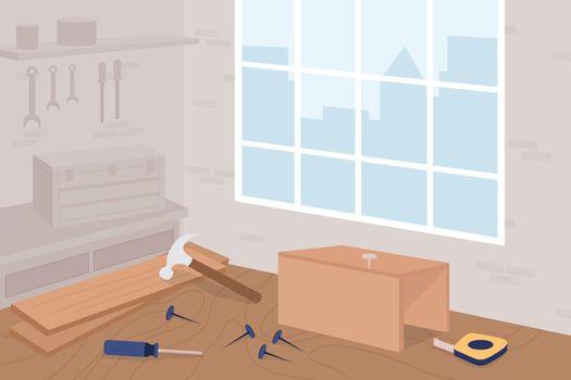 Carpentry workshop class flat color vector illustration