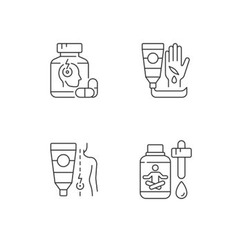 Survival first aid kit linear icons set