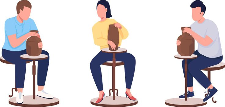 Pottery class adult students flat color vector faceless character set
