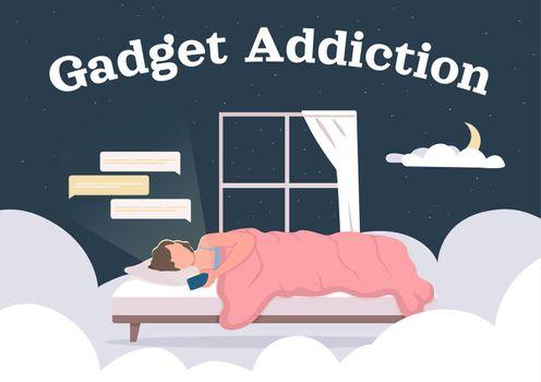 Gadget and social media addiction poster flat vector template