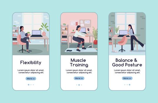 Workout in workplace onboarding mobile app screen flat vector template