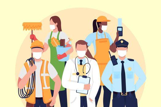 Essentials workers flat concept vector illustration