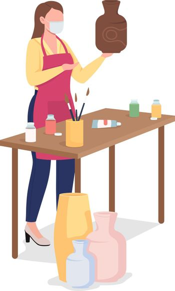 Woman painting clay vase flat color vector faceless character