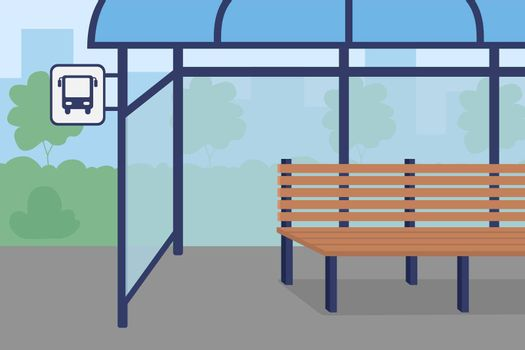 Bus stop flat color vector illustration