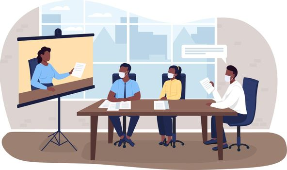 Virtual business meeting during pandemic 2D vector web banner, poster