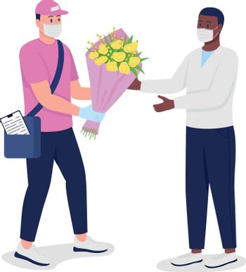 Delivery man in mask and gloves with customer flat color vector detailed characters