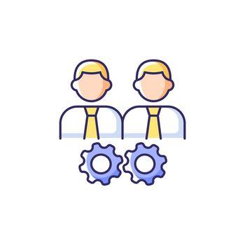 Collaboration RGB color icon