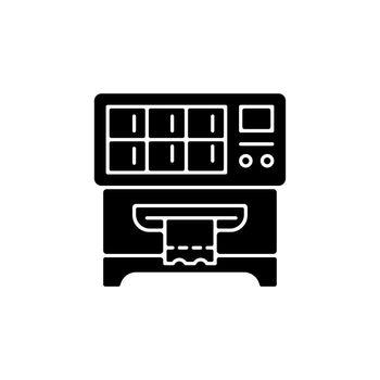 Lottery ticket vending machine black glyph icon